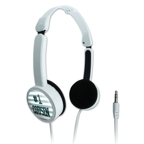 #1 Cousin Number One Favorite Novelty Travel Portable On-Ear Foldable Headphones