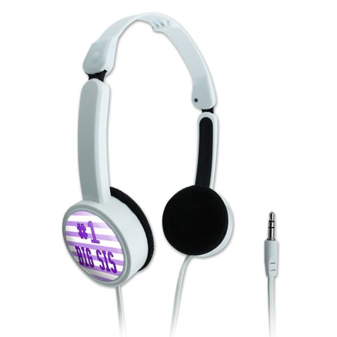#1 Big Sis Number One Favorite Sister Novelty Travel Portable On-Ear Foldable Headphones