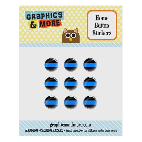 Thin Blue Line Home Button Stickers Set Fit Apple iPhone iPad iPod Touch