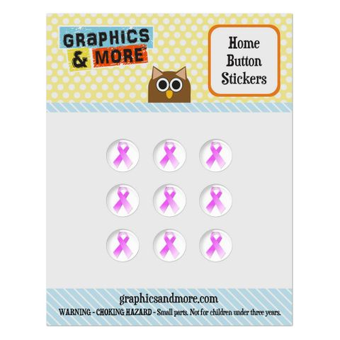Breast Cancer Pink Ribbon Home Button Stickers Set Fit Apple iPhone iPad iPod Touch