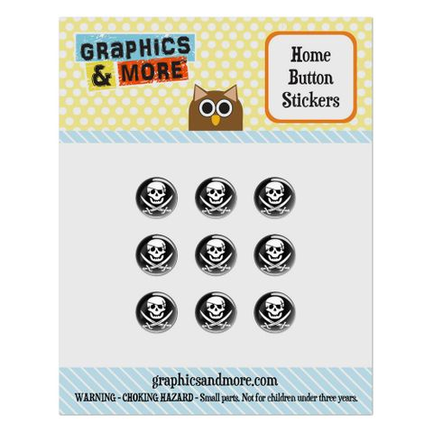 Pirate Skull Crossed Swords Jolly Roger Home Button Stickers Set Fit Apple iPhone iPad iPod Touch