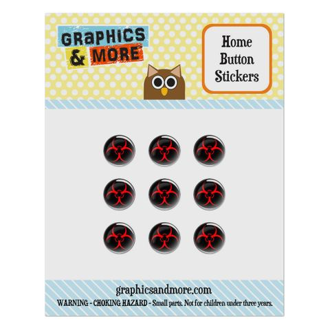 Biohazard Warning Symbol Zombie Radioactive Home Button Stickers Set Fit Apple iPhone iPad iPod Touch