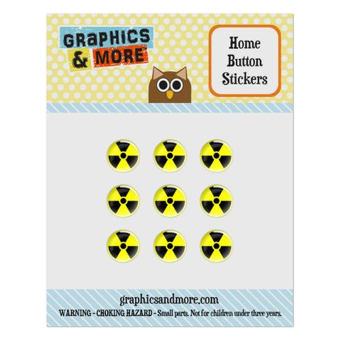 Radioactive Nuclear Warning Symbol Home Button Stickers Set Fit Apple iPhone iPad iPod Touch