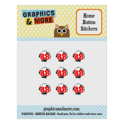 Number 88 Checkered Flag Racing Home Button Stickers Set Fit Apple iPhone iPad iPod Touch