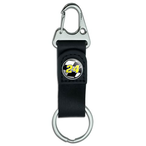 Number 24 Checkered Flag - Racing Belt Clip Carabiner Keychain