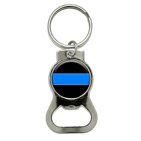 Thin Blue Line Round Bottle Opener Keychain