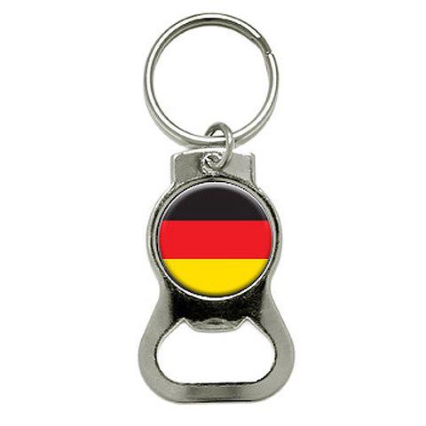 German Germany Flag Round Bottle Opener Keychain