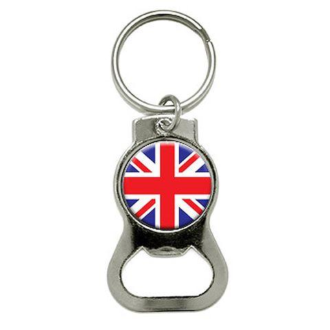 Britain British Flag Round Bottle Opener Keychain