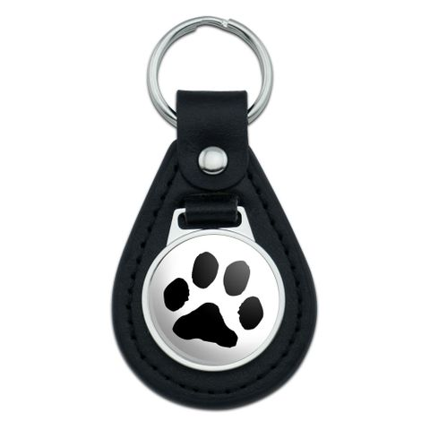 Paw Print Pet Dog Cat Black Leather Keychain