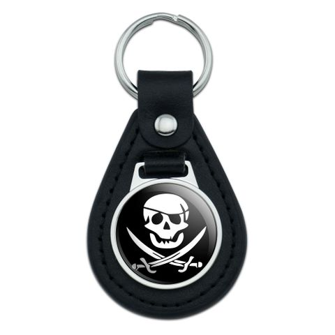 Pirate Skull Crossed Swords Jolly Roger Black Leather Keychain