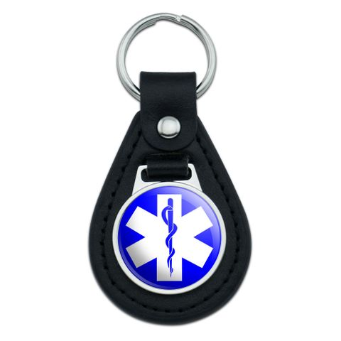 Star of Life Medical Health EMT RN MD Black Leather Keychain