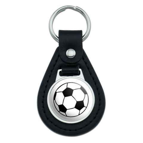 Cartoon Soccer Ball Football Black Leather Keychain