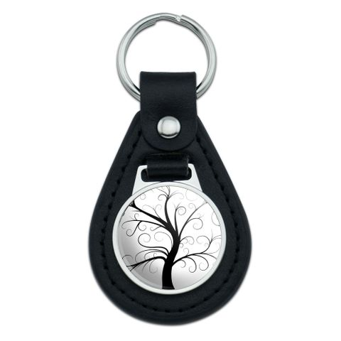 Tree of Life Black Leather Keychain