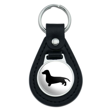 Dachshund Wiener Dog Black Leather Keychain