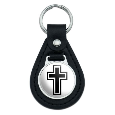 Cross Christian Religious Black Leather Keychain