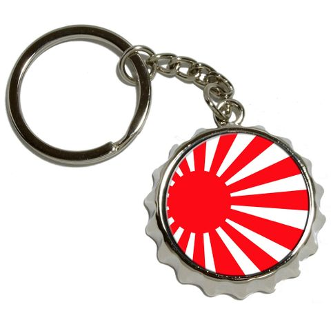 Japan Japanese Flag Rising Sun Pop Cap Bottle Opener Keychain