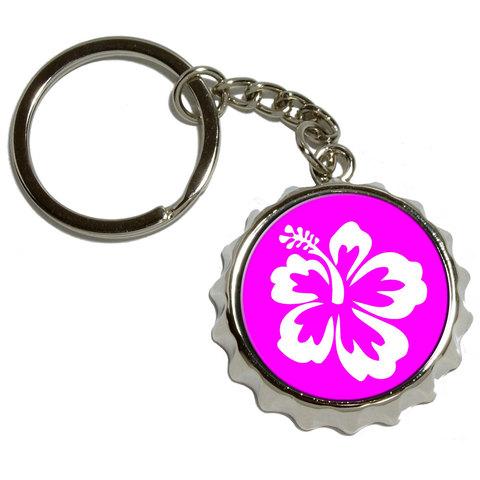 Hibiscus Flower Pink Pop Cap Bottle Opener Keychain
