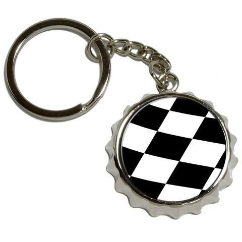 Checkered Flag - Racing NASCAR Pop Cap Bottle Opener Keychain