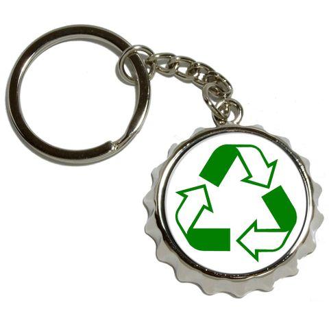 Recycle Hybrid Pop Cap Bottle Opener Keychain