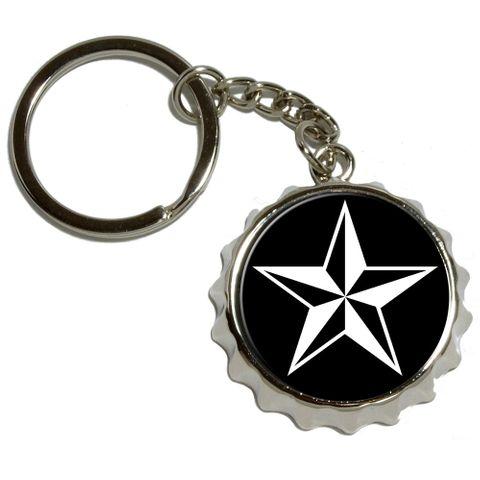 Nautical Star - Black Pop Cap Bottle Opener Keychain