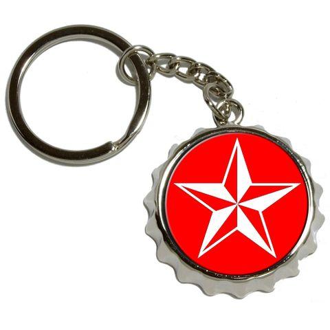 Nautical Star - Red Pop Cap Bottle Opener Keychain