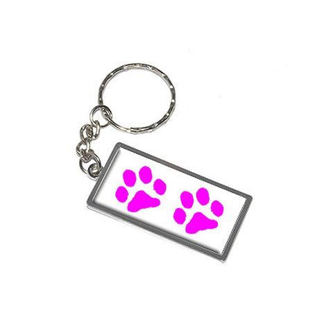 Paw Prints - Pink Metal Rectangle Keychain