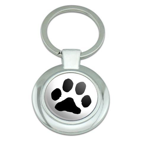 Paw Print Pet Dog Cat Classy Round Chrome Plated Metal Keychain