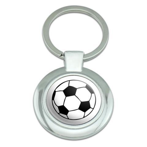 Cartoon Soccer Ball Football Classy Round Chrome Plated Metal Keychain