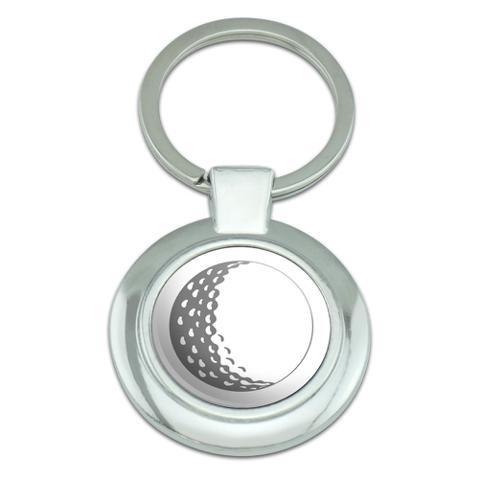 Golf Ball Golfing Golfer Classy Round Chrome Plated Metal Keychain