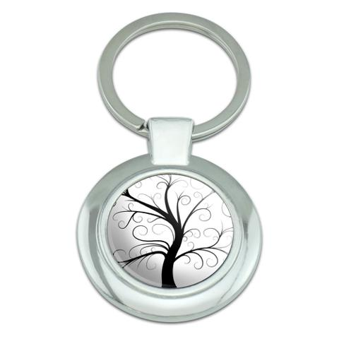 Tree of Life Classy Round Chrome Plated Metal Keychain