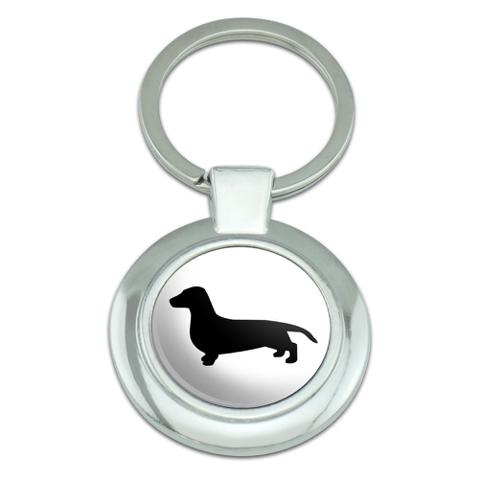 Dachshund Wiener Dog Classy Round Chrome Plated Metal Keychain