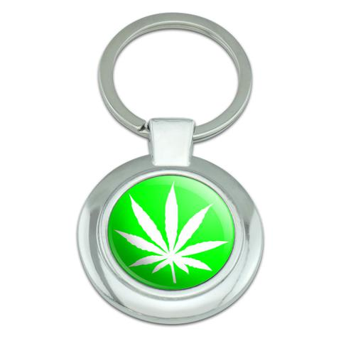Marijuana Pot Weed Leaf Green Classy Round Chrome Plated Metal Keychain