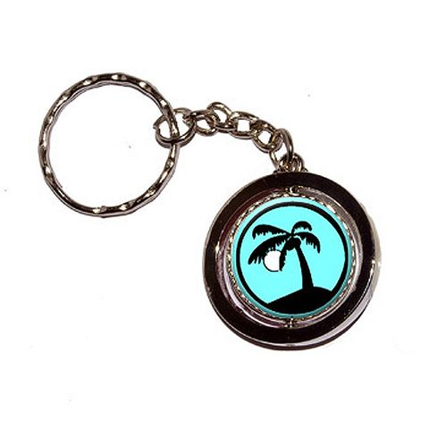 Palm Tree and Moon Blue Spinning Circle Keychain
