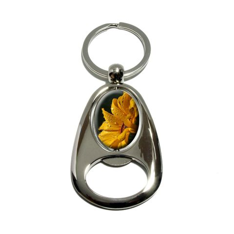 Yellow Daisy With Water Drops Spinning Oval Bottle Opener Keychain