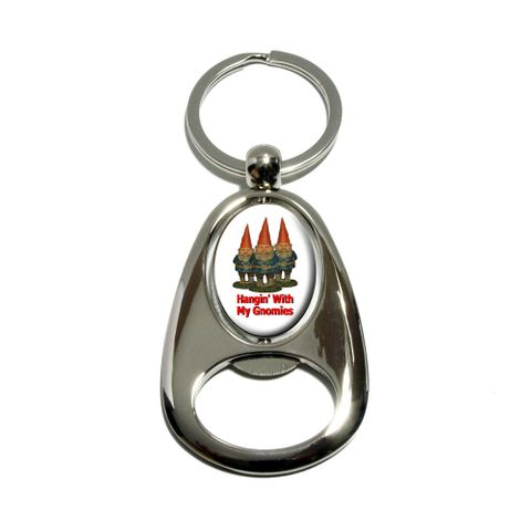 Hangin With My Gnomies - Hanging Gnomes Spinning Oval Bottle Opener Keychain