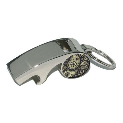 Paisley Print - Black Cream Whistle Bottle Opener Keychain