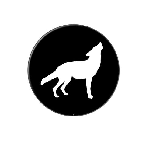Wolf Howling Lapel Hat Pin Tie Tack Large Round