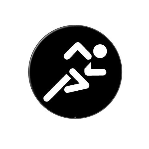 Running Jogging Marathon Symbol Lapel Hat Pin Tie Tack Large Round
