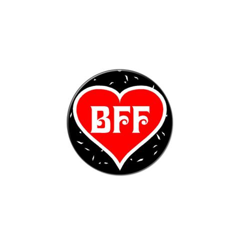 BFF - Best Friends Forever - Red Heart Lapel Hat Pin Tie Tack Small Round