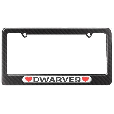 Dwarves Love with Hearts License Plate Tag Frame - Carbon Fiber Patterned Finish