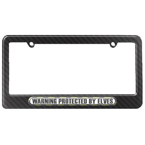 Protected By Elves License Plate Tag Frame - Carbon Fiber Patterned Finish