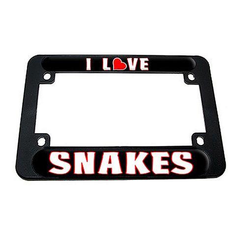 I Love Heart Snakes Motorcycle License Plate Frame