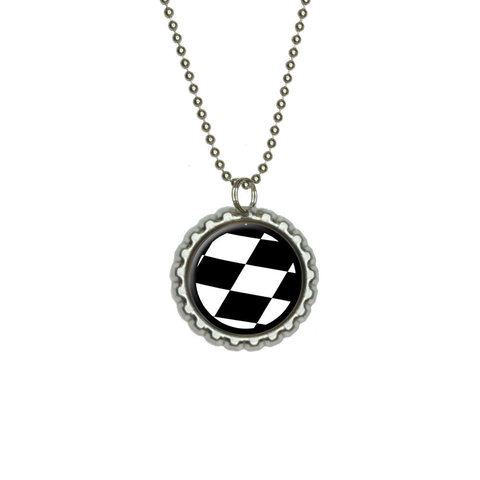 Checkered Flag - Racing Flat Bottlecap Pendant