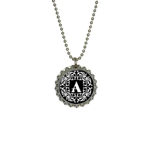 Letter A Initial Black and White Scrolls Large Bottlecap Pendant