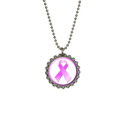 Breast Cancer Pink Ribbon Large Bottlecap Pendant