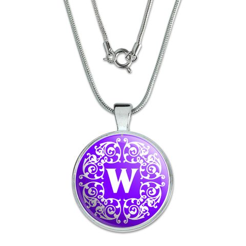 Letter W Initial Purple and White Scrolls Large Pendant