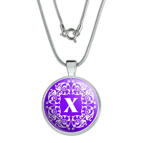 Letter X Initial Purple and White Scrolls Large Pendant