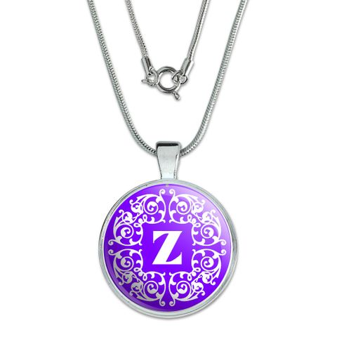 Letter Z Initial Purple and White Scrolls Large Pendant