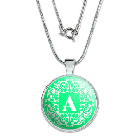 Letter A Initial Teal and White Scrolls Large Pendant