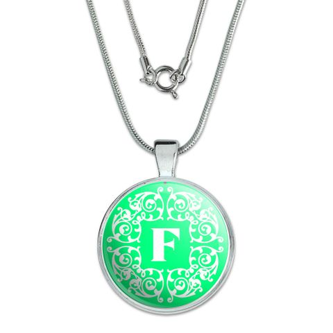 Letter F Initial Teal and White Scrolls Large Pendant